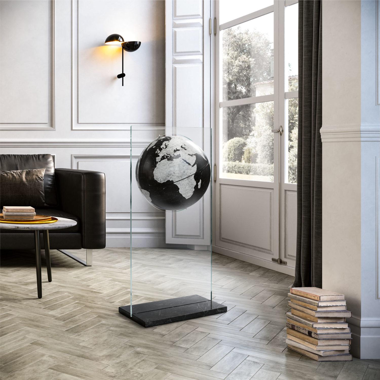 fotorendering con mappamondo moderno e divano in pelle