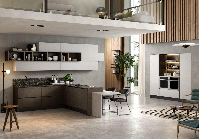 rendering di cucina moderna con soppalco