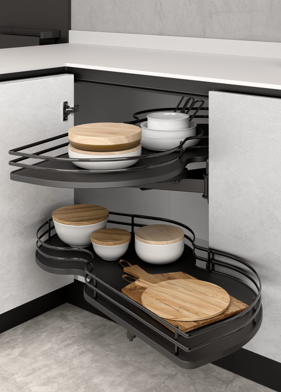 dettaglio di rendering di angolo base di cucina moderna con cestelli estraibili finitura canna di fucile