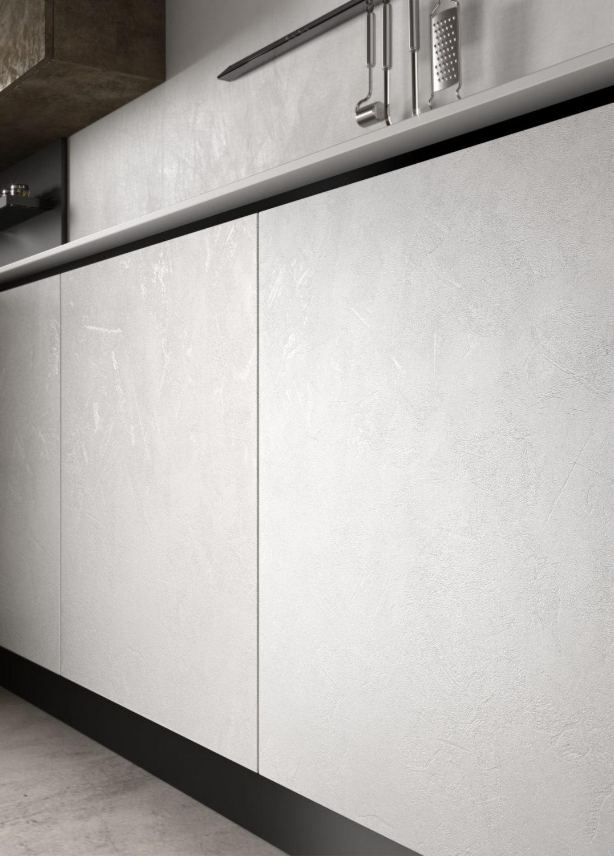 dettaglio di rendering di basi di cucina moderna con ante bianche effetto spatolato