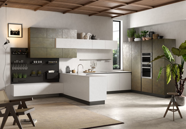 rendering di cucina moderna con ante bianche ed effetto spatolato