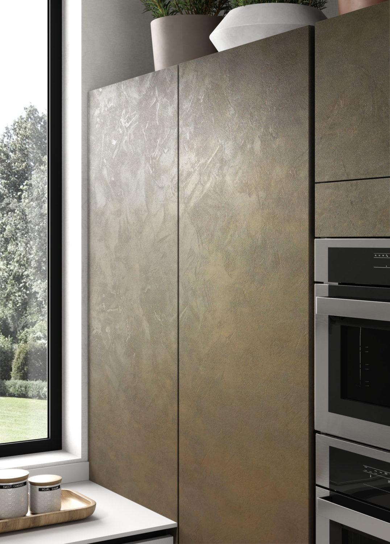 dettaglio di rendering di colonne di cucina moderna con ante effetto spatolato