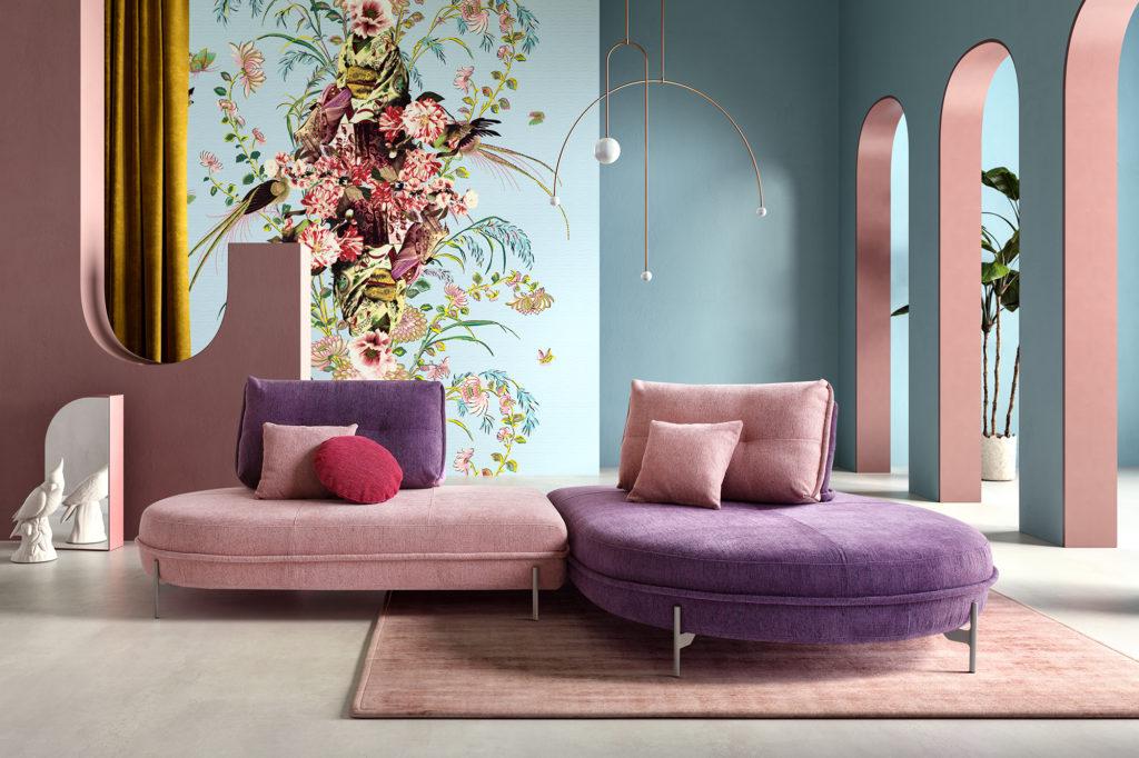 rendering di soggiorno con archi con fotoinserimento 3d di divano