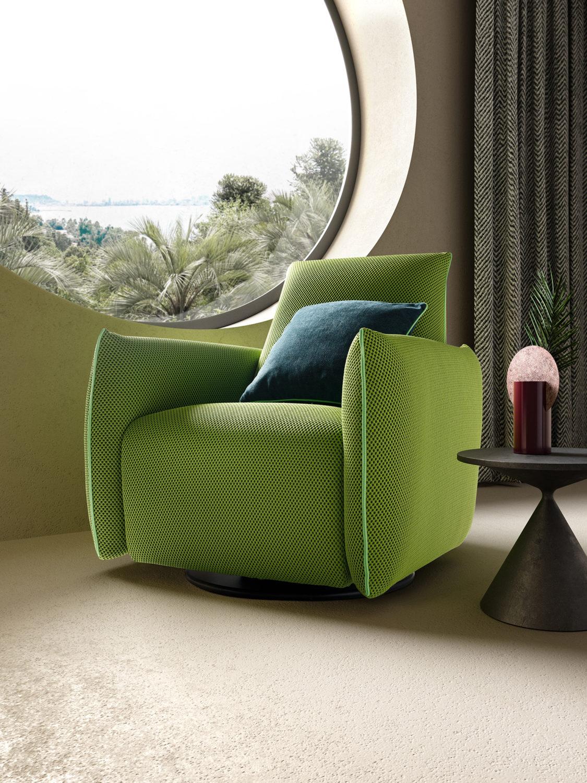 dettaglio di rendering di soggiorno modernista con fotoinserimento 3d di poltrona