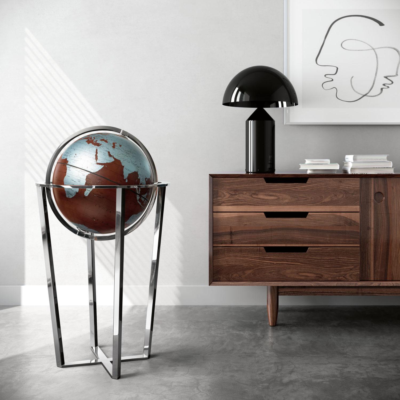fotorendering con mappamondo moderno e contromobile in legno