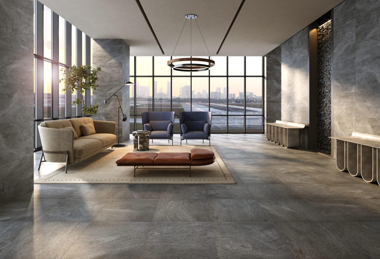 render di spazio lounge con pavimentazione in pietra e città sullo sfondo