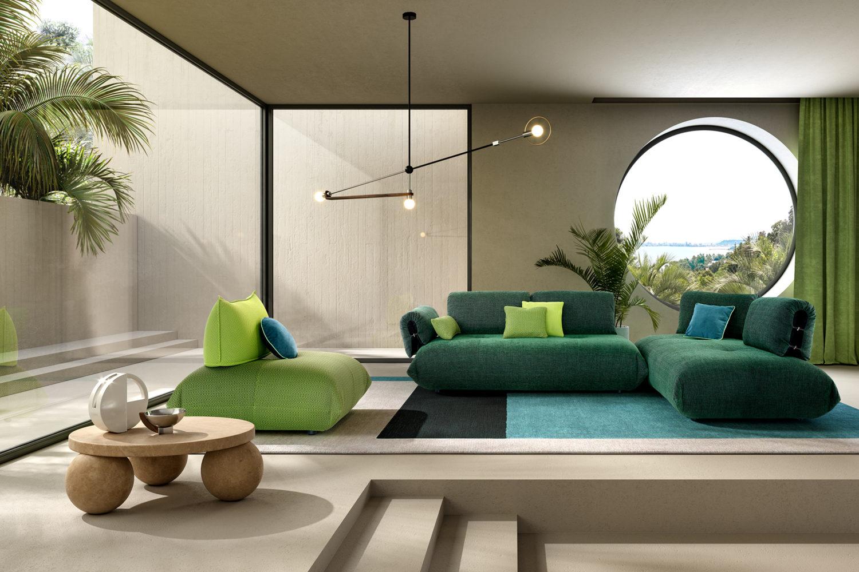 rendering di soggiorno modernista con fotoinserimento 3d di divano