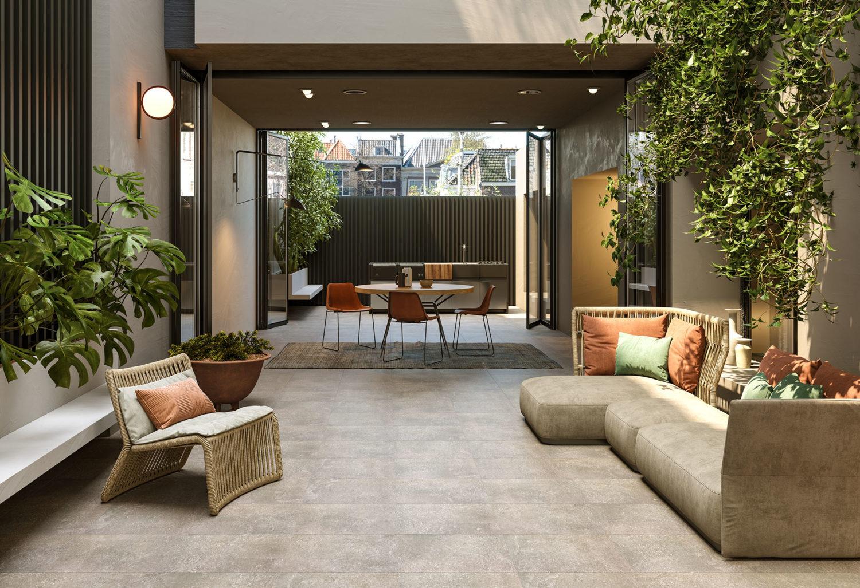 render di spazio outdoor con pavimentazione in pietra e sedute