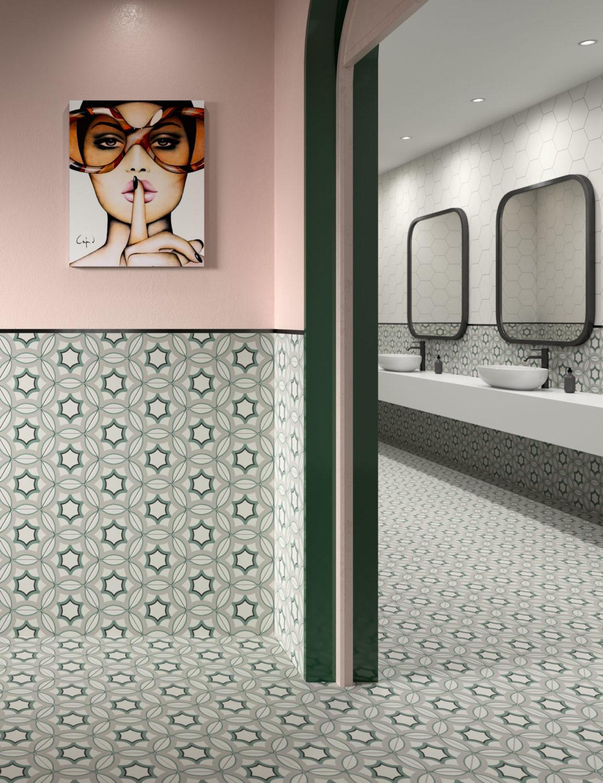 rendering di piastrelle esagonali decorative ambientate in un bagno