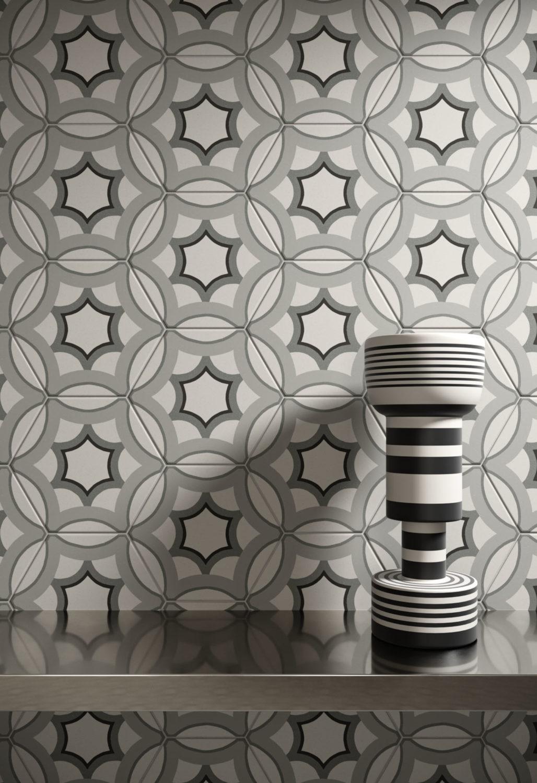 dettaglio di rendering di muro con rivestimento di piastrelle esagonali decorative e mensola con lampada