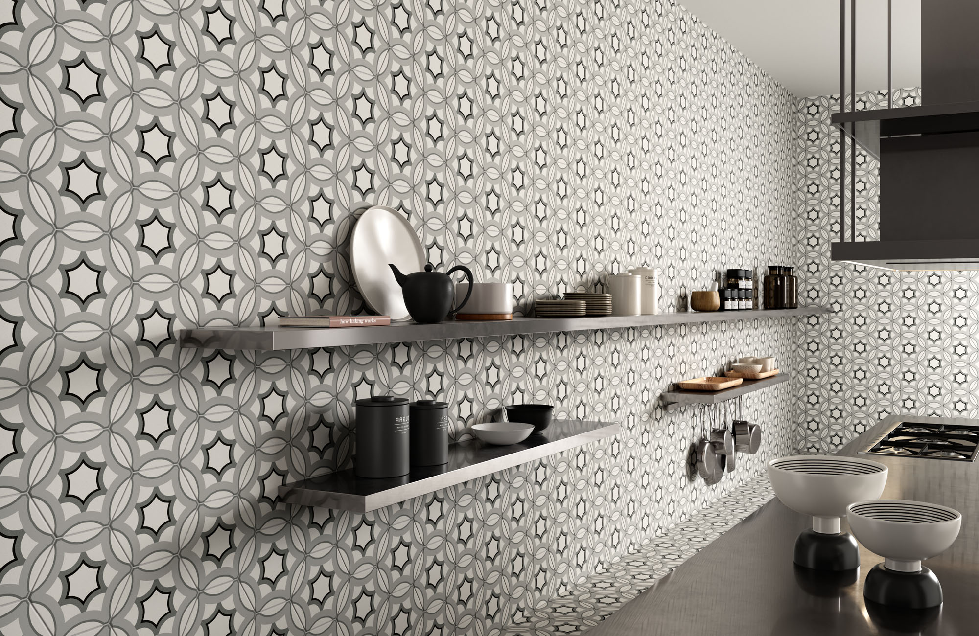 rendering di cucina con rivestimento murale di piastrelle esagonali decorative e mensole con oggetti