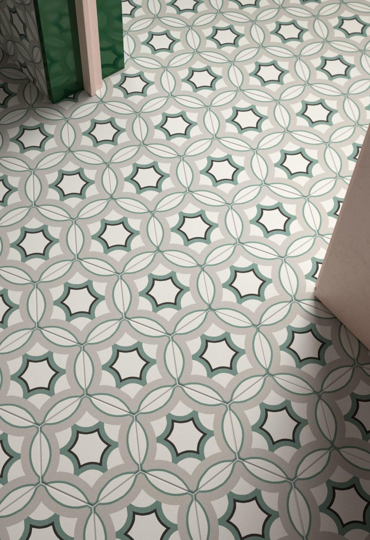 dettaglio di rendering di pavimento con piastrelle esagonali decorative