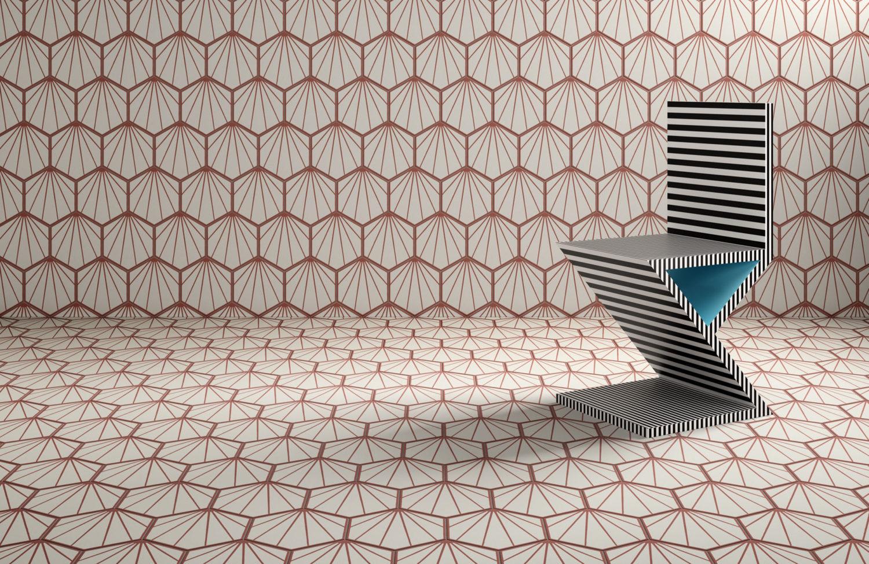 rendering di piastrelle esagonali decorative uguali su pavimento e muro con sedia di design