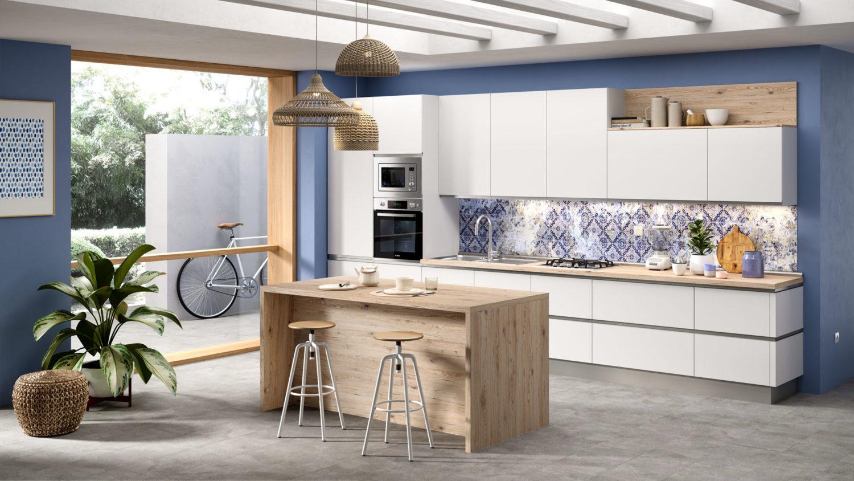 rendering di cucina di mondo convenienza lineare con ante bianche e isola in legno chiaro