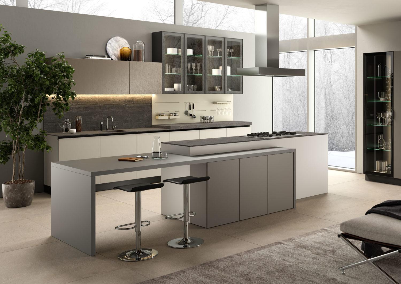 rendering di cucina moderna con ante bianche e grigie