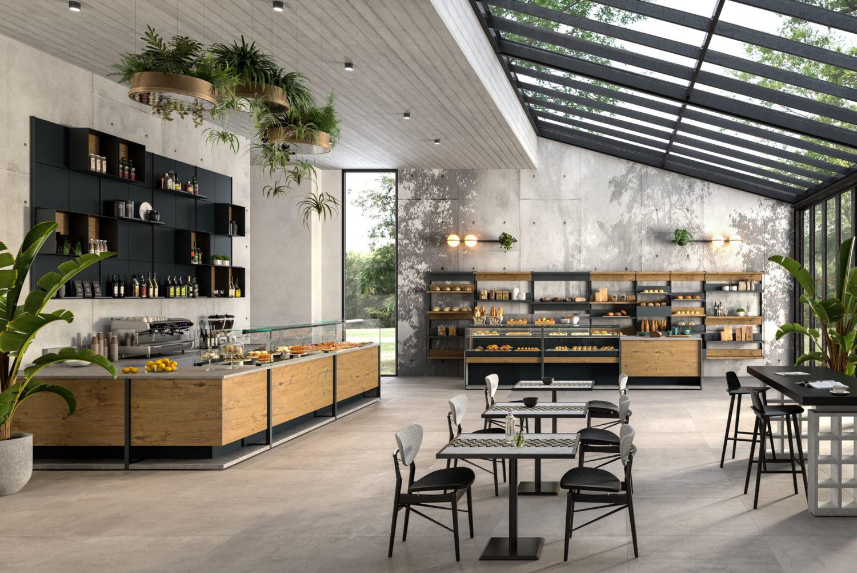 rendering di panetteria con bancone in legno e tavoli e sedie in ambiente industrial