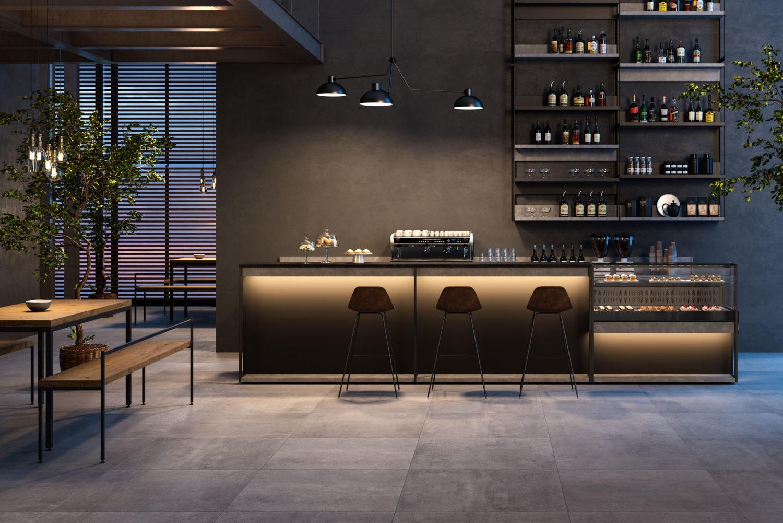 rendering di bar con luce soffusa e stile industrial