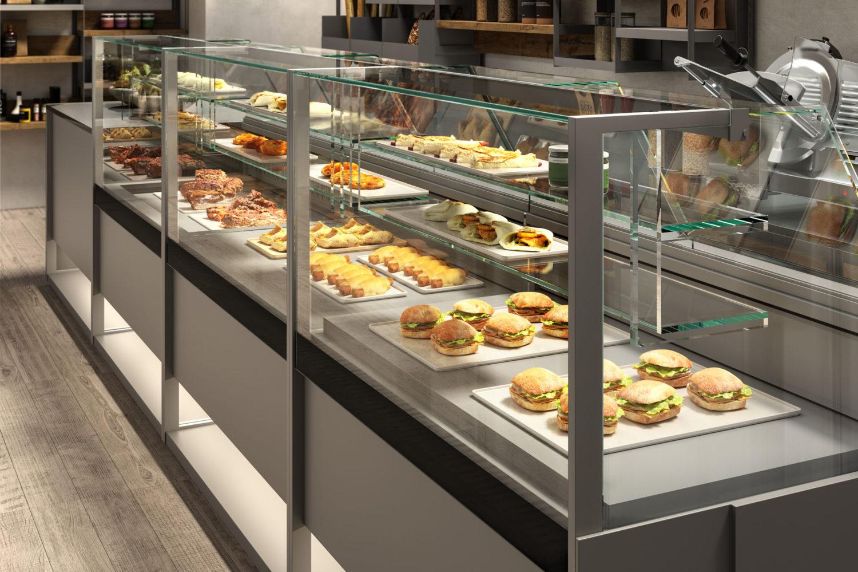 rendering di panetteria con bancone vetrina bianco e panini