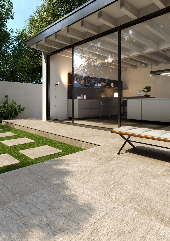 render di spazio outdoor con pavimento di ceramica e vetrata con cucina sullo sfondo