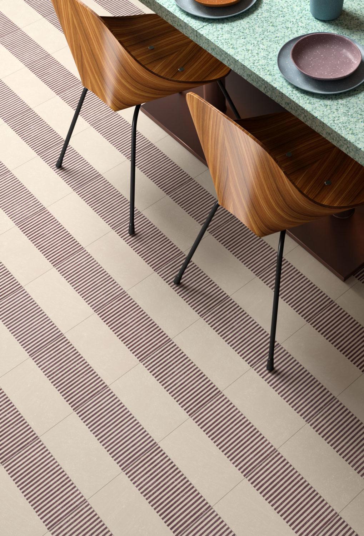 rendering di tavolo di ristorante apparecchiato su pavimento in piastrelle