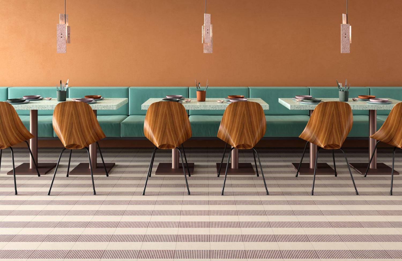 rendering di tavoli di ristorante in fila con pavimento in piastrelle in primo piano