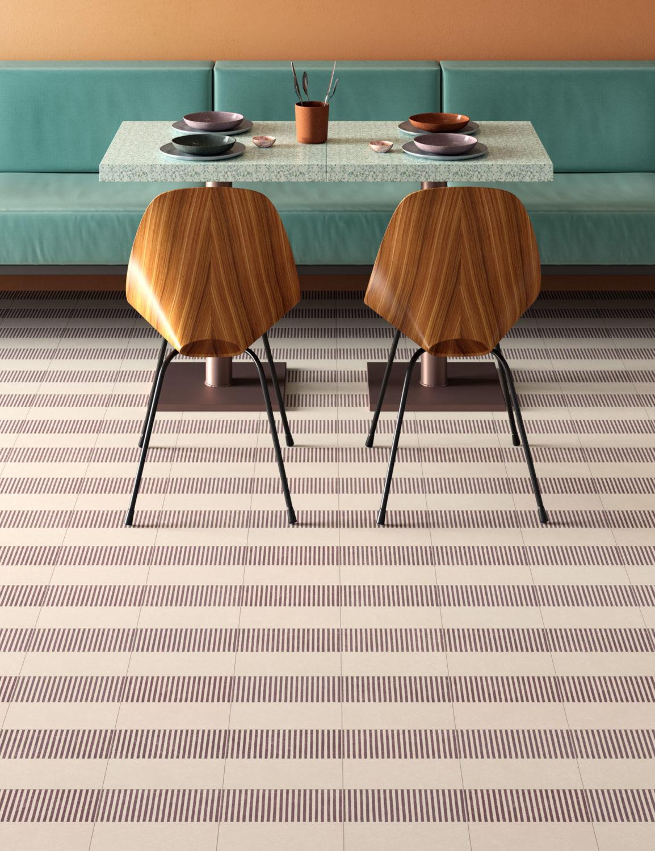 rendering di tavolo di ristorante apparecchiato con pavimento in piastrelle in primo piano