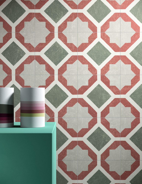 dettaglio di rendering di parete con rivestimento in piastrelle