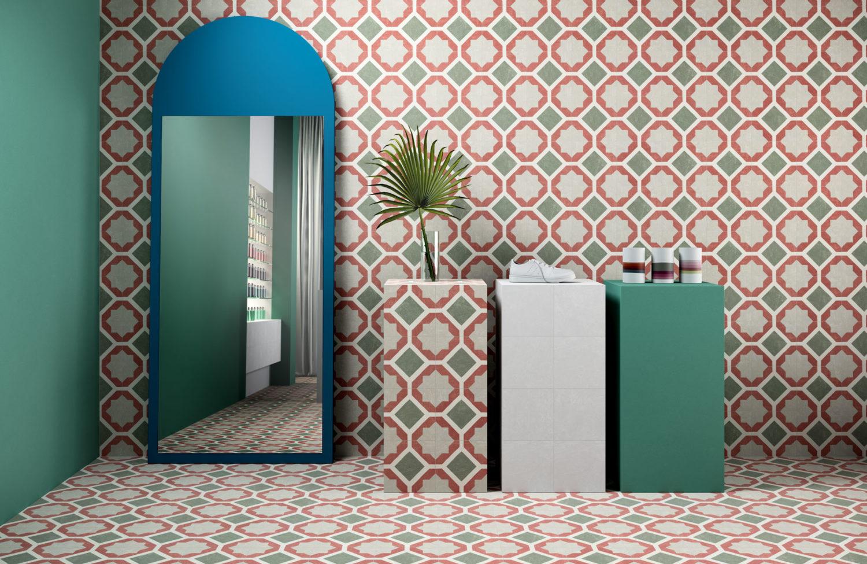 rendering di parete di negozio con specchio e pavimento e rivestimento di piastrelle uguali