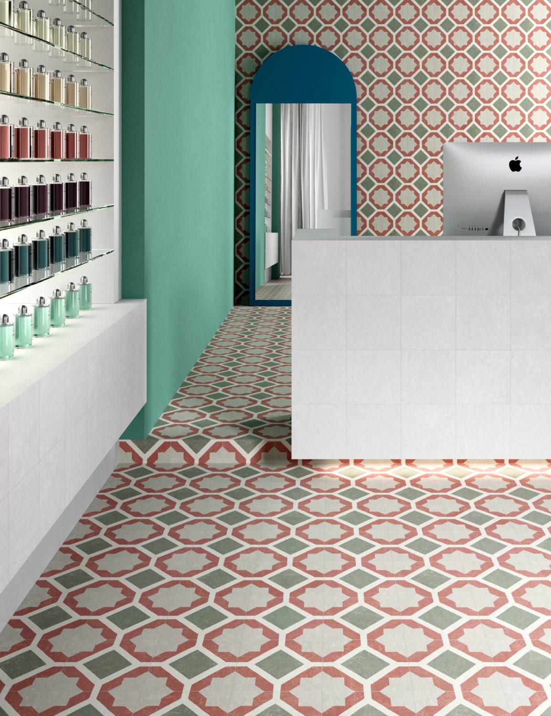 rendering di negozio con banco e scaffale e pavimento e rivestimento di piastrelle uguali