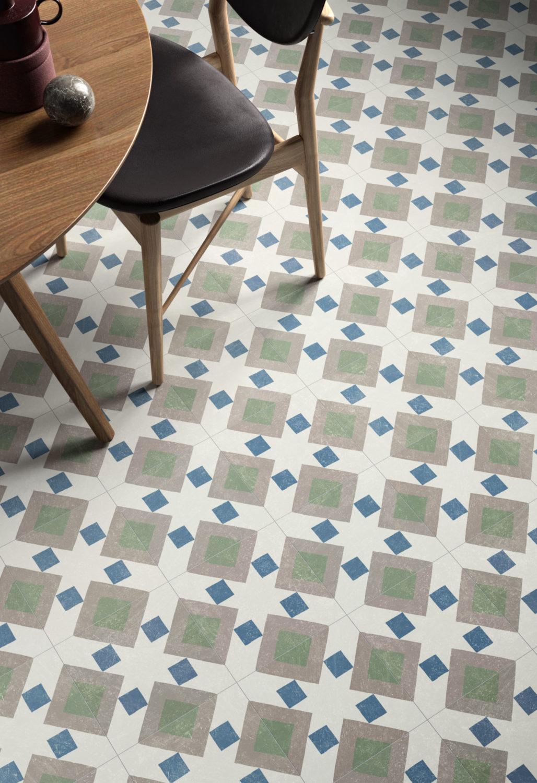 rendering di pavimento in piastrelle e tavolo e sedia