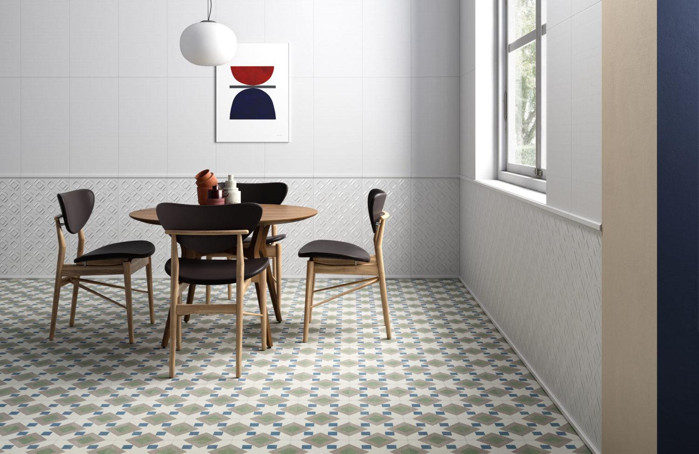 rendering di zona pranzo con tavolo e sedie e pavimento di piatrelle