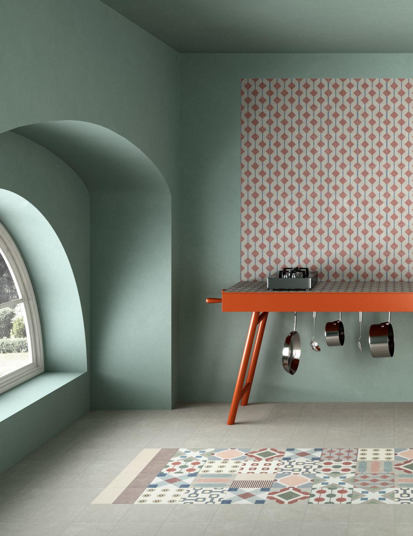 rendering di piano cucina e tappeto di piastrelle geometriche in primo piano