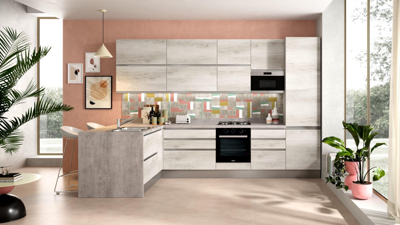 rendering di cucina di mondo convenienza con ante in legno chiaro e penisola