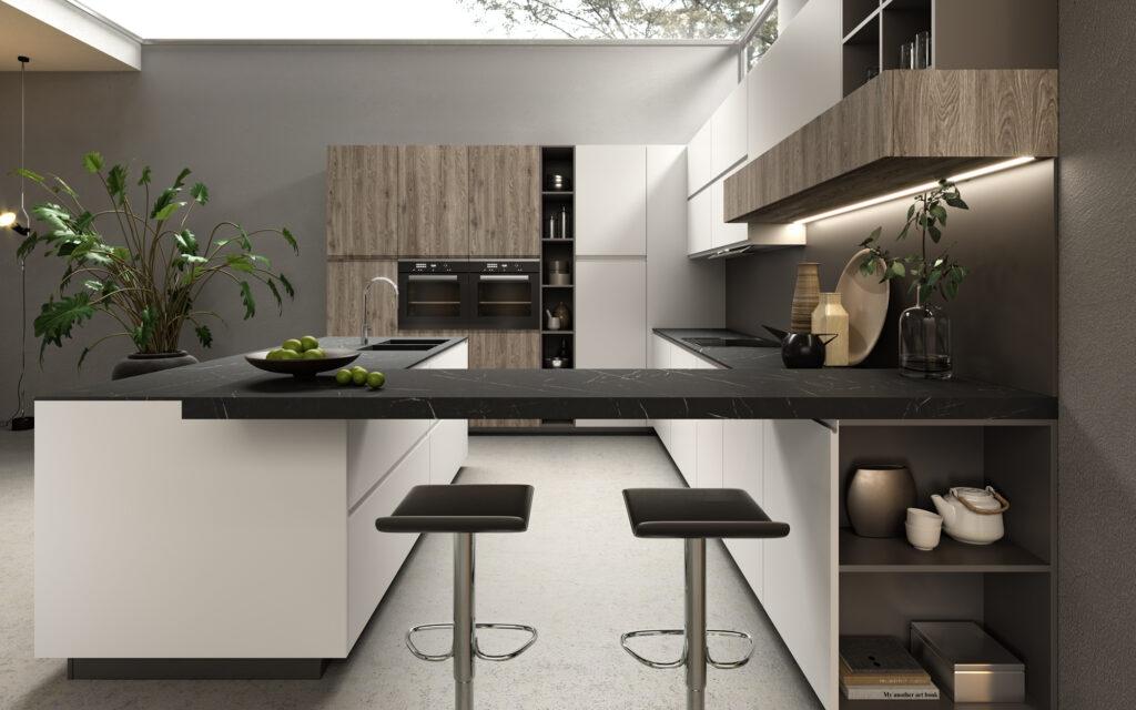 rendering di cucina di gusto contemporaneo con piano lavoro sospeso in primo piano isola a sinistra e basi e pensili a destra e colonne sullo sfondo
