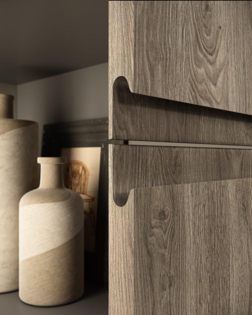 dettaglio stretto di rendering di cucina di gusto contemporaneo con anta in finitura di legno e maniglia a incasso e un vasetto sullo sfondo