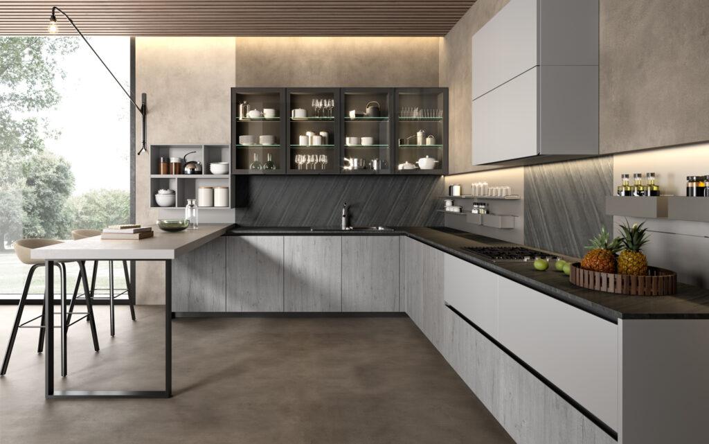 rendering di cucina di gusto contemporaneo con composizione ad angolo con penisola sulla sinistra e composizione ad angolo con basi con anta in legno bianco e pensili vetrina