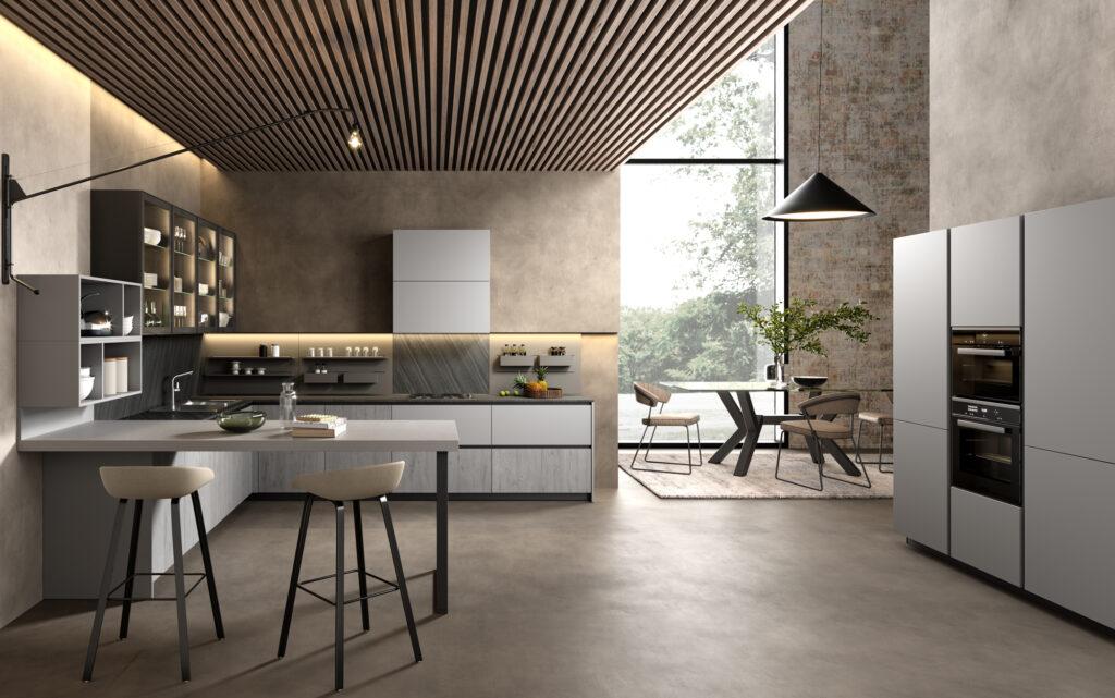 rendering di cucina di gusto contemporaneo con vista totale in open space con colonne sulla destra e composizione ad angolo sulla sinistra e tavolo con sedie sullo sfondo