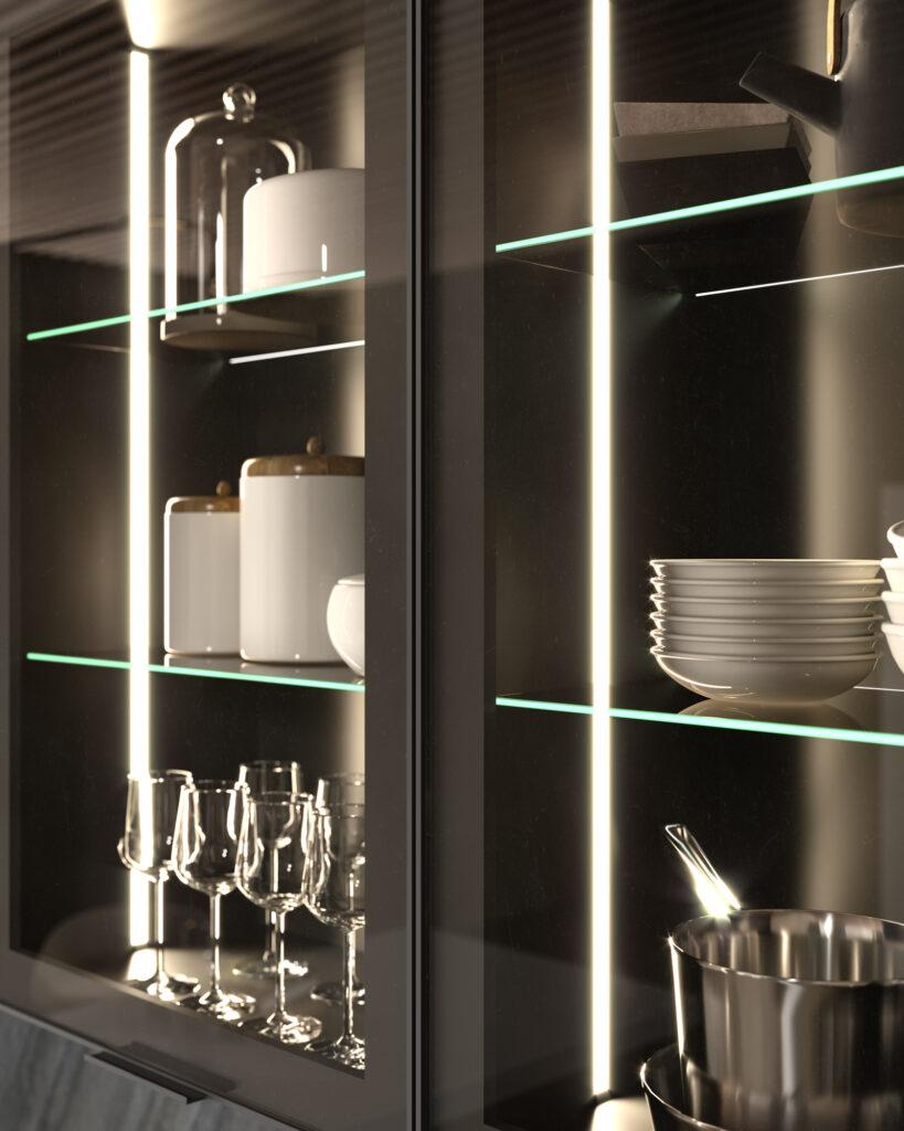 dettaglio stretto di rendering di cucina di gusto contemporaneo con anta in vetro con telaio nero in metallo e ripiani in cristallo e piatti e bicchieri