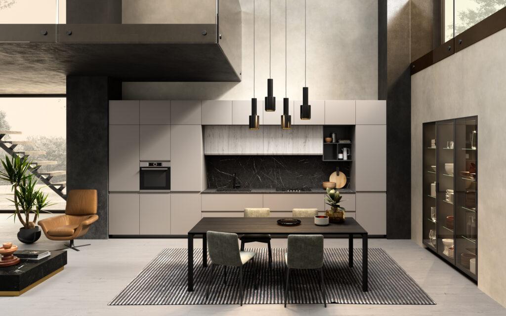 rendering di cucina di gusto contemporaneo con tavolo e sedie in primo piano composizione con basi pensili e colonne sullo sfondo e colonne vetrina sulla destra