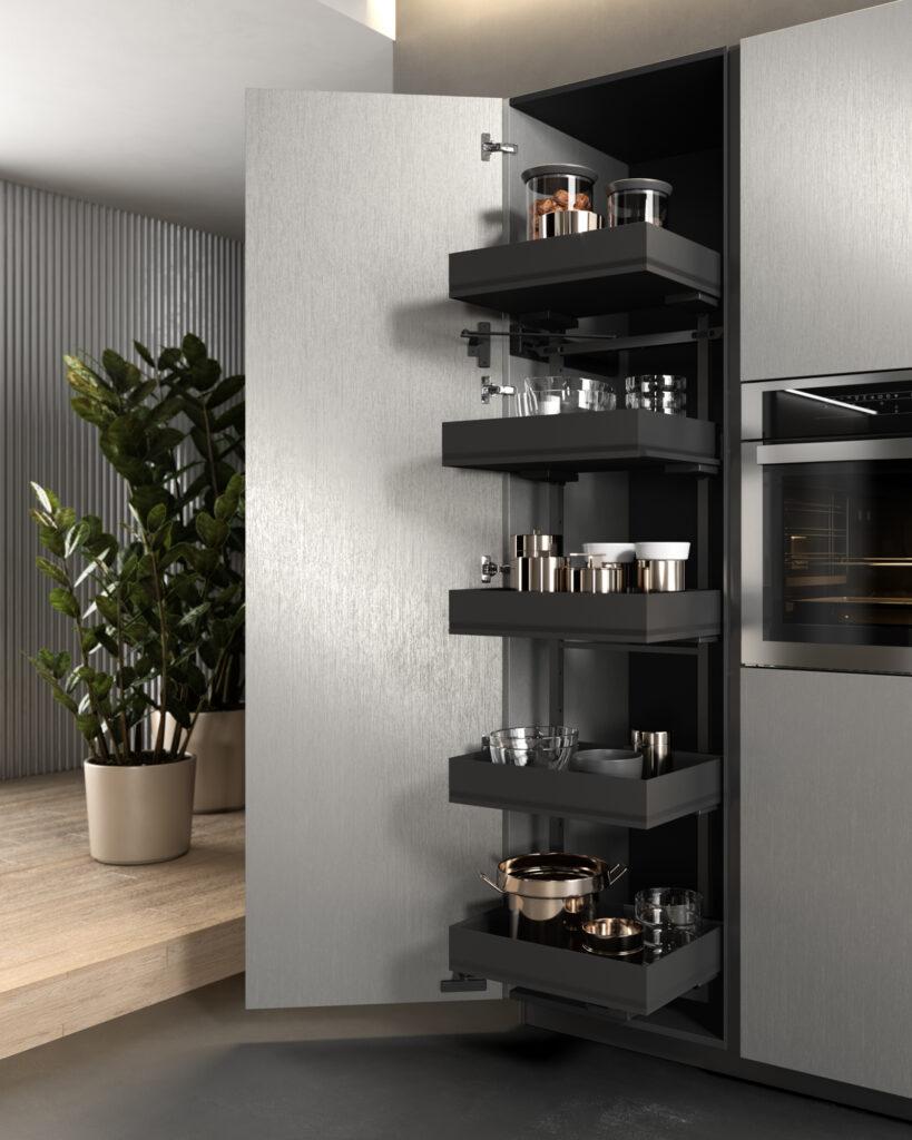 rendering di cucina di gusto contemporaneo con inquadratura di colonna aperta e cestelli interni estraibili