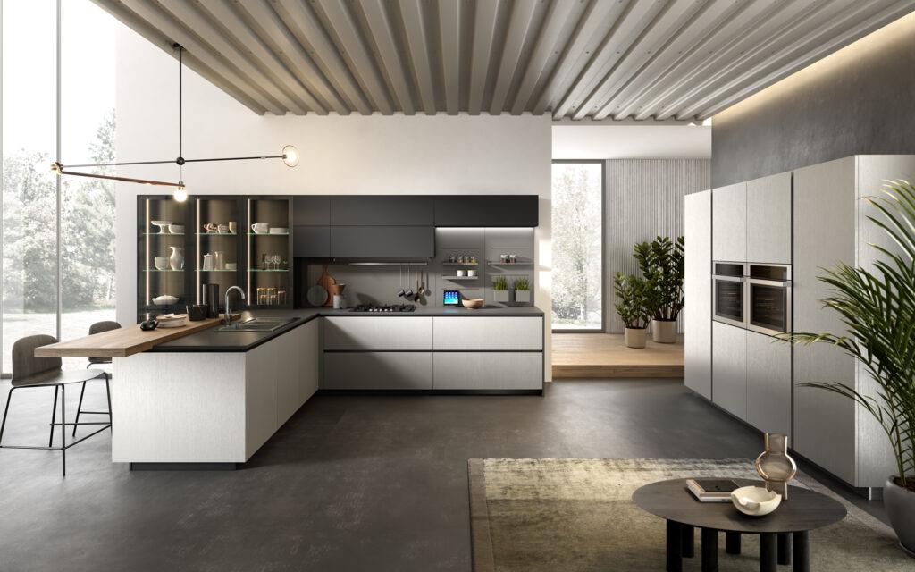 rendering di cucina di gusto contemporaneo con vista totale di open space con composizione con basi pensili e penisola sulla sinistra e colonne sulla destra
