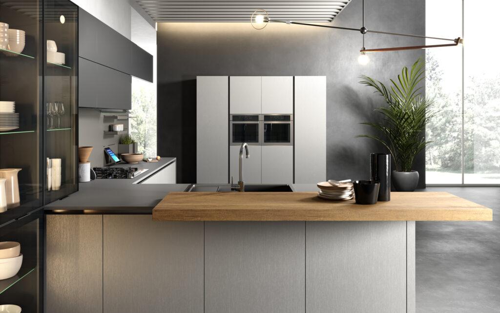 rendering di cucina di gusto contemporaneo con penisola in primo piano e colonne sullo sfondo