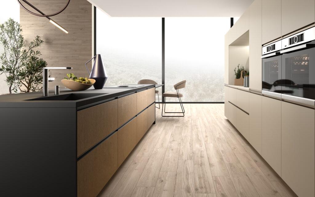 rendering di cucina di gusto contemporaneo con basi a isola a sinistra e colonne a destra e vetrata sullo sfondo