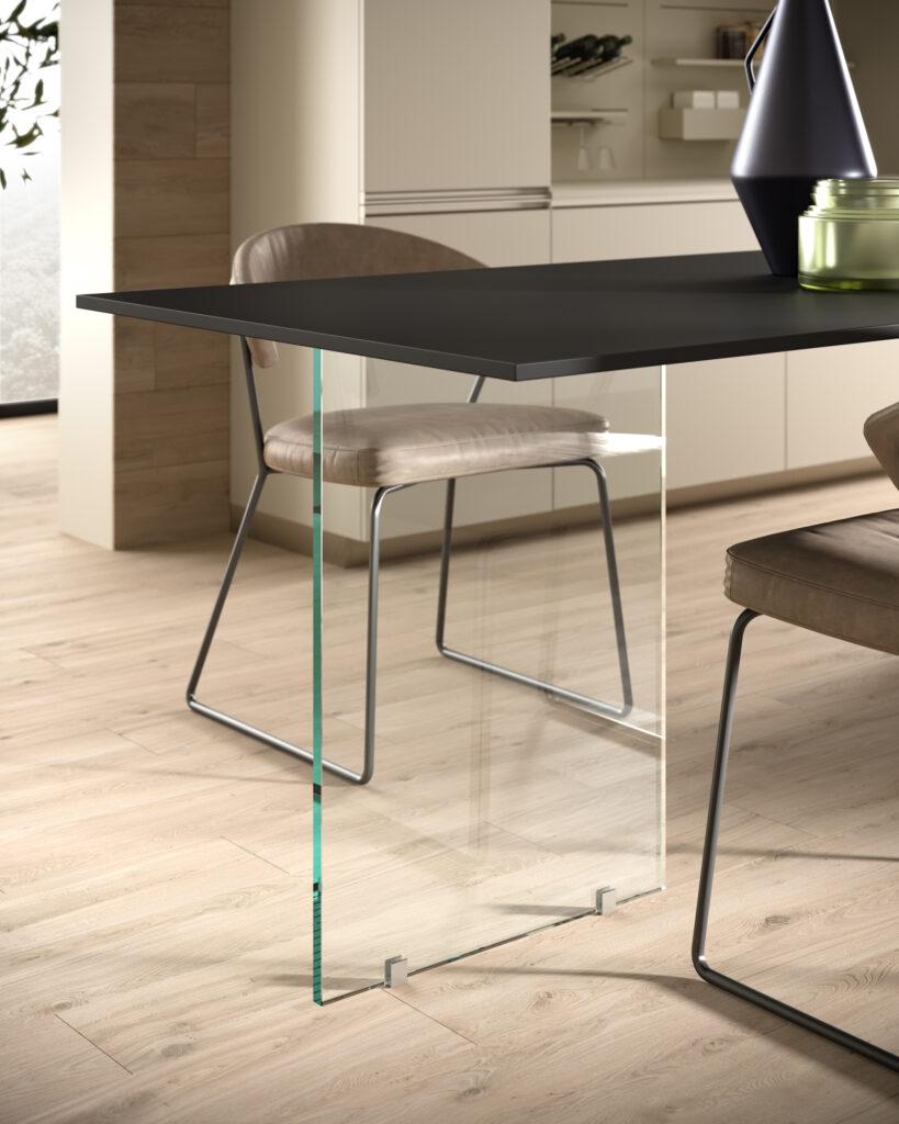 dettaglio di rendering di cucina di gusto contemporaneo con gamba di cristallo del piano lavoro a sbalzo e sedia in metallo e pelle