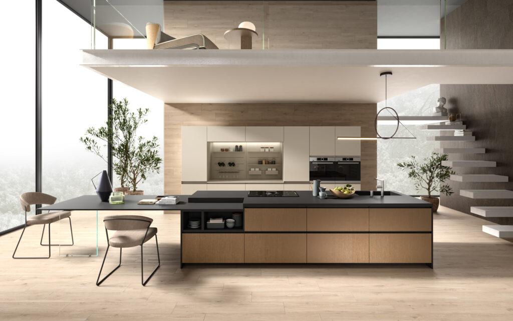 rendering di cucina di gusto contemporaneo con grande isola centrale e colonne a muro ambientata in un open space con scala e grande vetrata