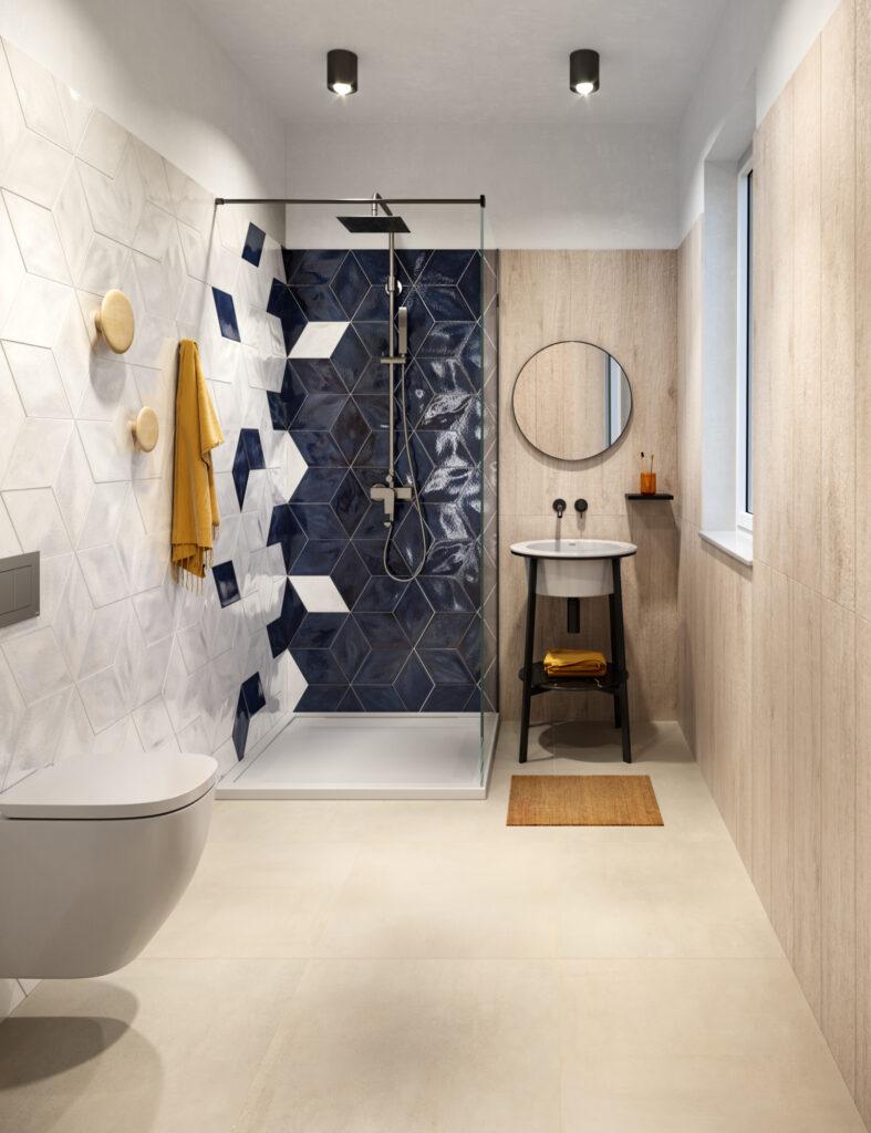 render di bagno con rivestimenti in ceramica effetto parquet e pattern geometrico effetto 3D