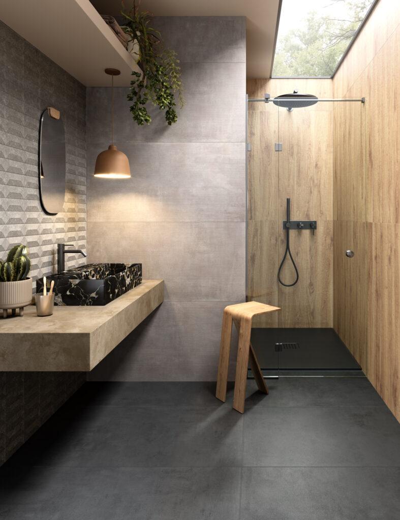 render di bagno con rivestimenti in ceramica effetto parquet e grandi formati effetto cemento