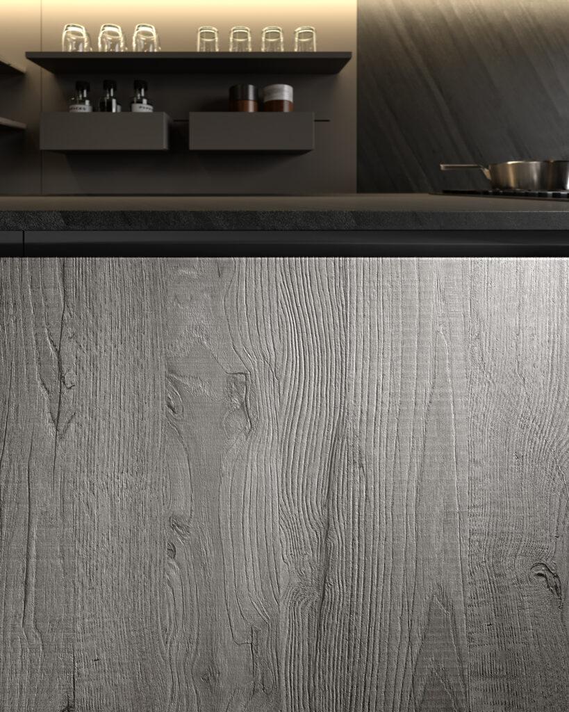 dettaglio di rendering di cucina di gusto contemporaneo con anta in legno bianco e venatura ben in vista.