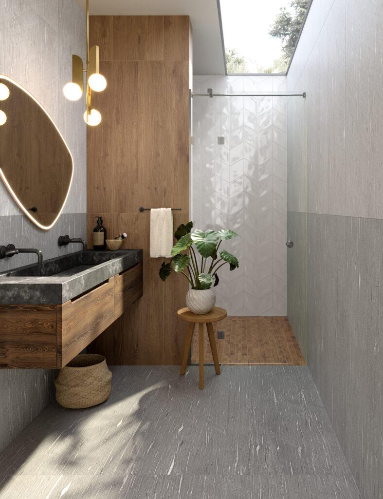 render di bagno con rivestimenti in ceramica effetto parquet e decorativo geometrico lucido
