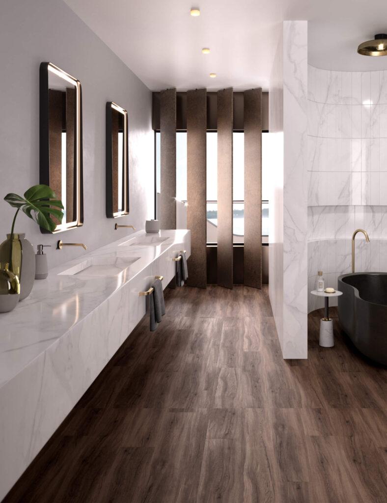 rendering dell'interno di uno yacht con punto di vista dall'ingresso del bagno con due lavabo una vasca e la finestra sullo sfondo
